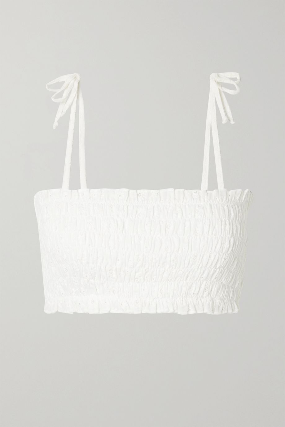 VerdeLimon Missouri shirred broderie anglaise cotton bikini top