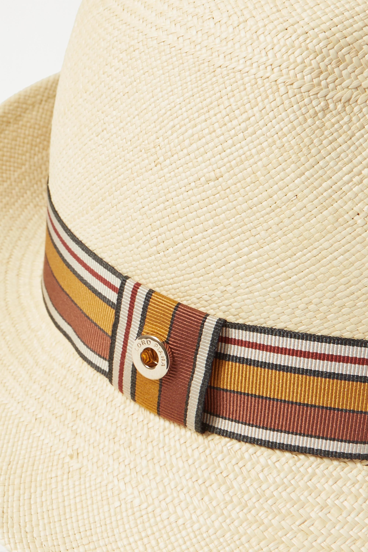 Loro Piana The Suitcase Stripe Ingrid grosgrain-trimmed toquilla straw Panama hat