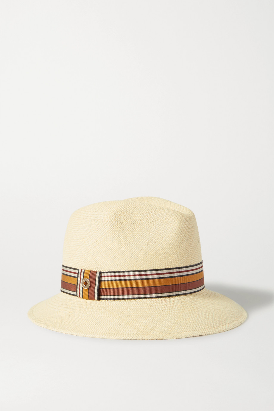 Loro Piana The Suitcase Stripe Ingrid grosgrain-trimmed toquilla straw Panama hat