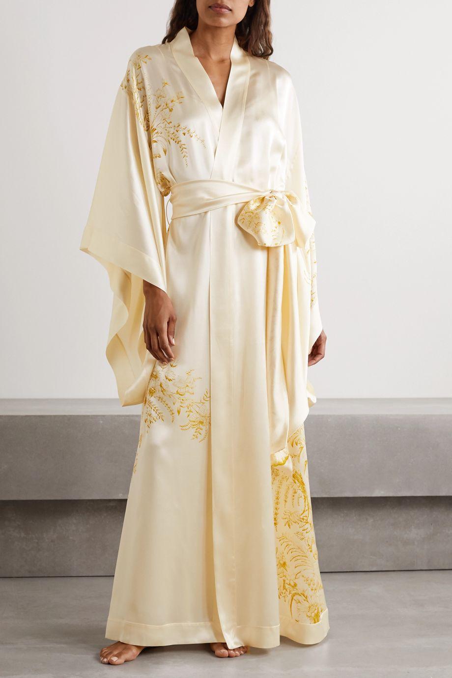 Carine Gilson Floral-print silk-satin robe