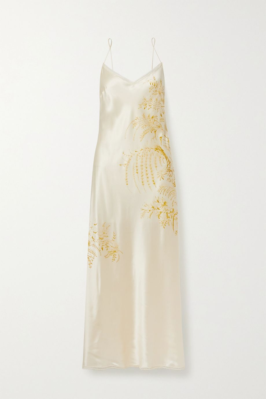 Carine Gilson Lace-trimmed printed silk-satin nightdress