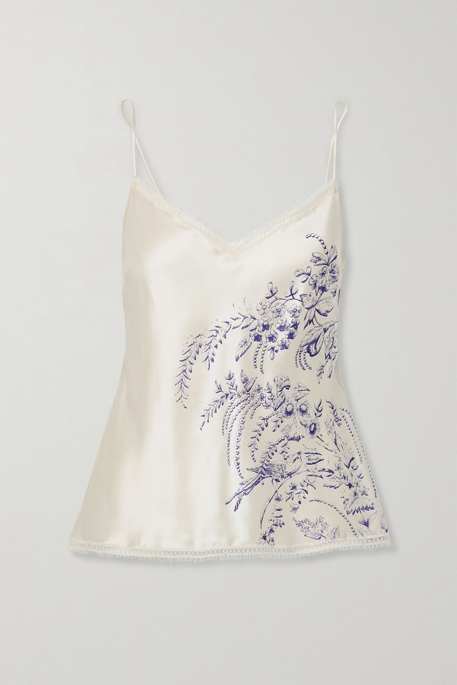 Carine Gilson Lace-trimmed printed silk-satin camisole