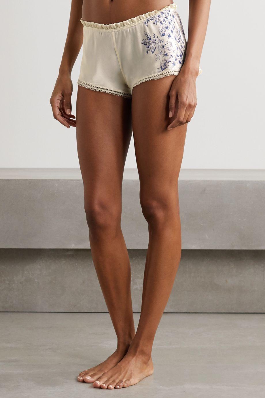 Carine Gilson Lace-trimmed printed silk-satin pajama shorts