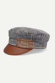 Embroidered checked wool and faux leather cap