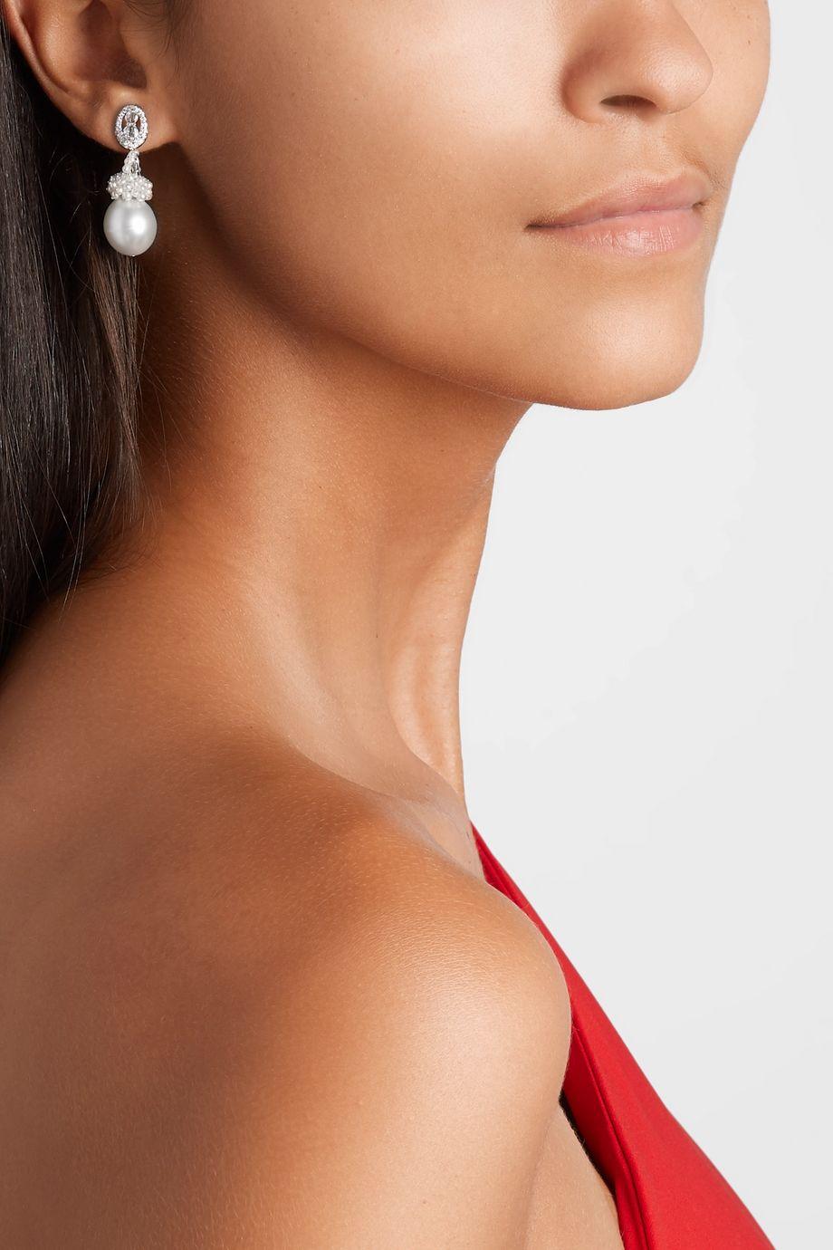 Bina Goenka 18-karat white gold, pearl and diamond earrings