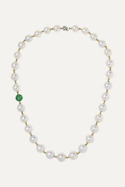 18-karat gold, pearl, emerald and diamond necklace