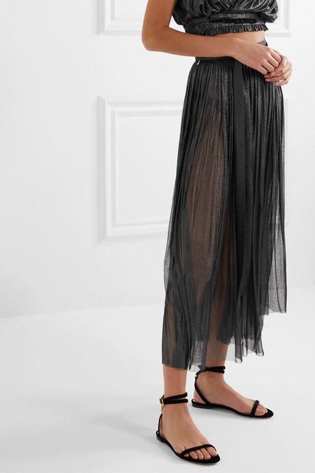 Delfis asymmetric pleated metallic silk-tulle midi skirt