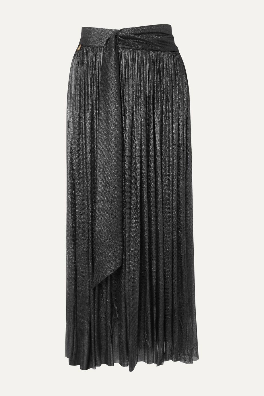 Elena Makri Delfis asymmetric pleated metallic silk-tulle midi skirt