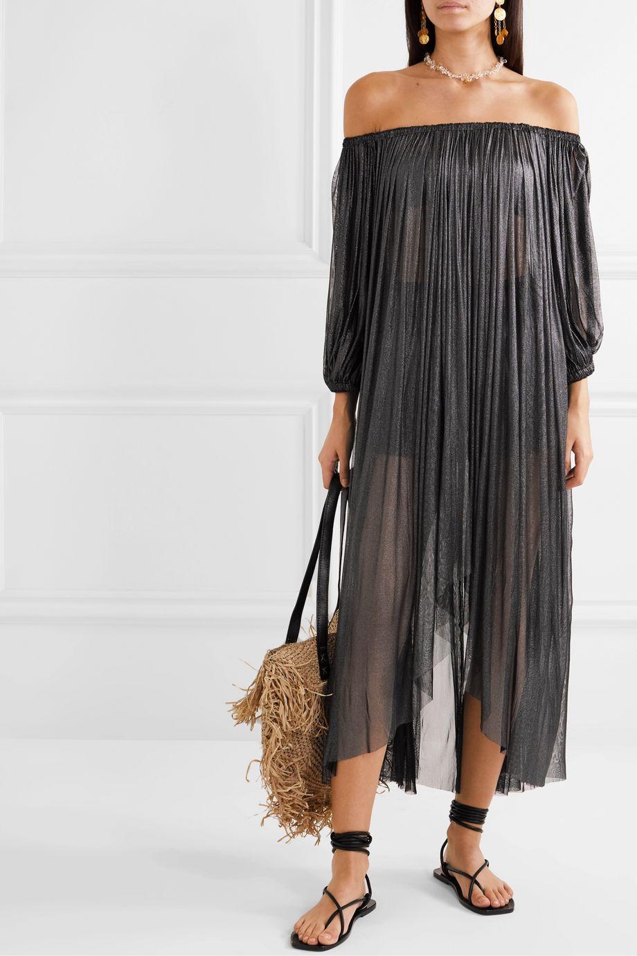 Elena Makri Arcadia off-the-shoulder pleated metallic silk-tulle dress
