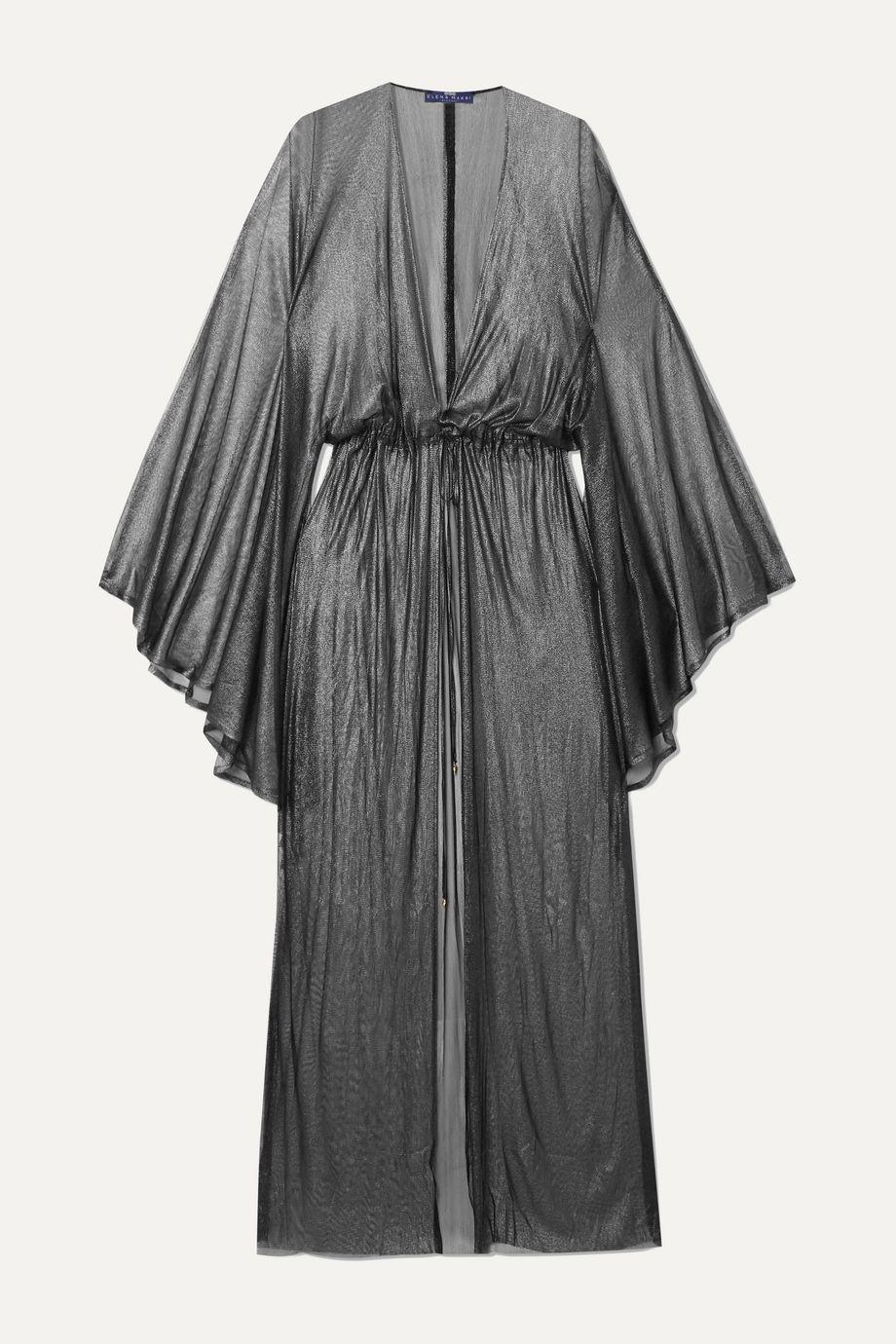Elena Makri Nemesis pleated metallic silk-tulle robe