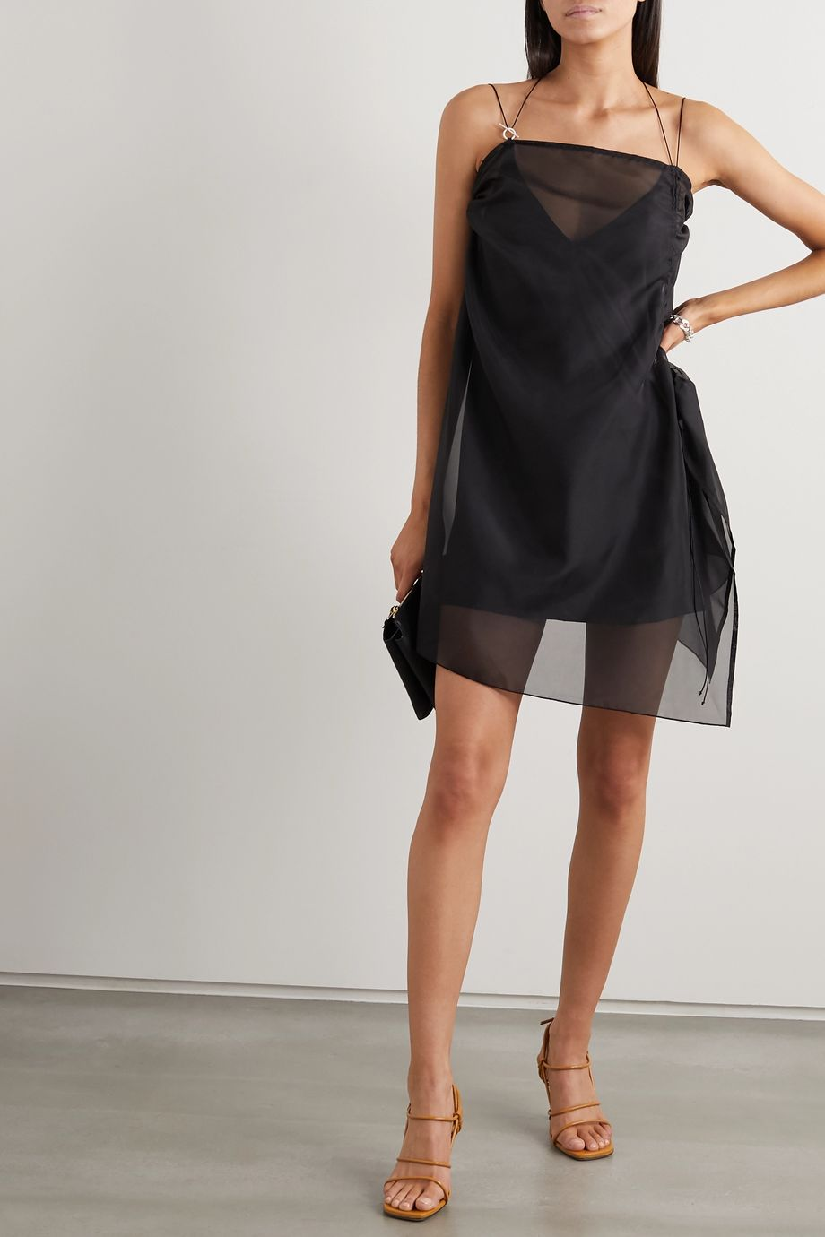 ioannes Camilla ruched organza and stretch-silk mini dress