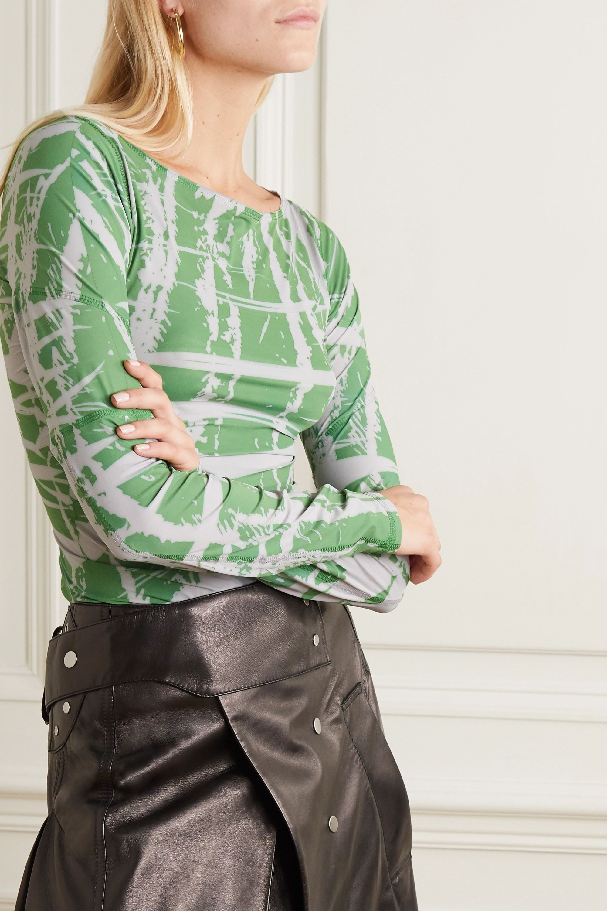 ioannes Ink printed stretch-jersey top