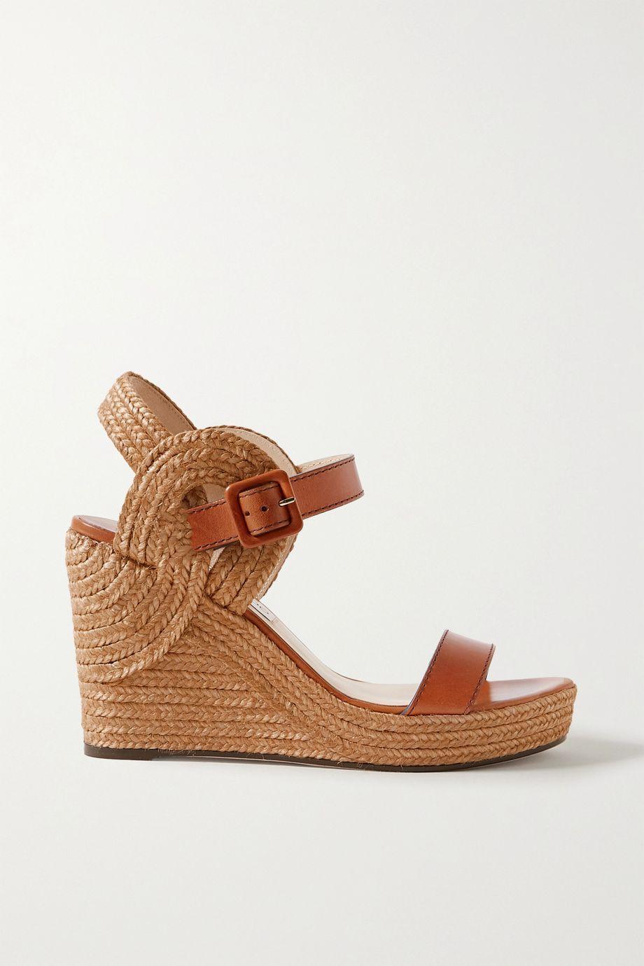 Jimmy Choo Delphi 100 皮革黄麻坡跟麻底凉鞋