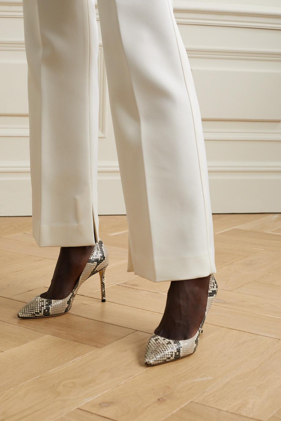 Jimmy Choo Romy 85 蛇纹皮革高跟鞋