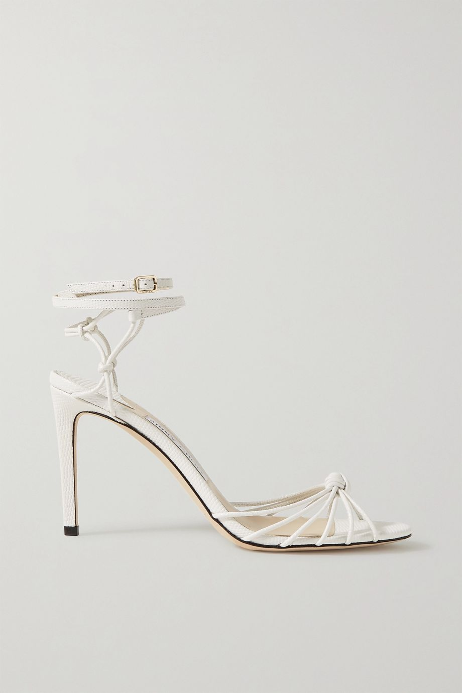 Jimmy Choo Lovella 85 knotted lizard-effect leather sandals