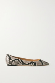 Romy snake-effect leather point-toe flats