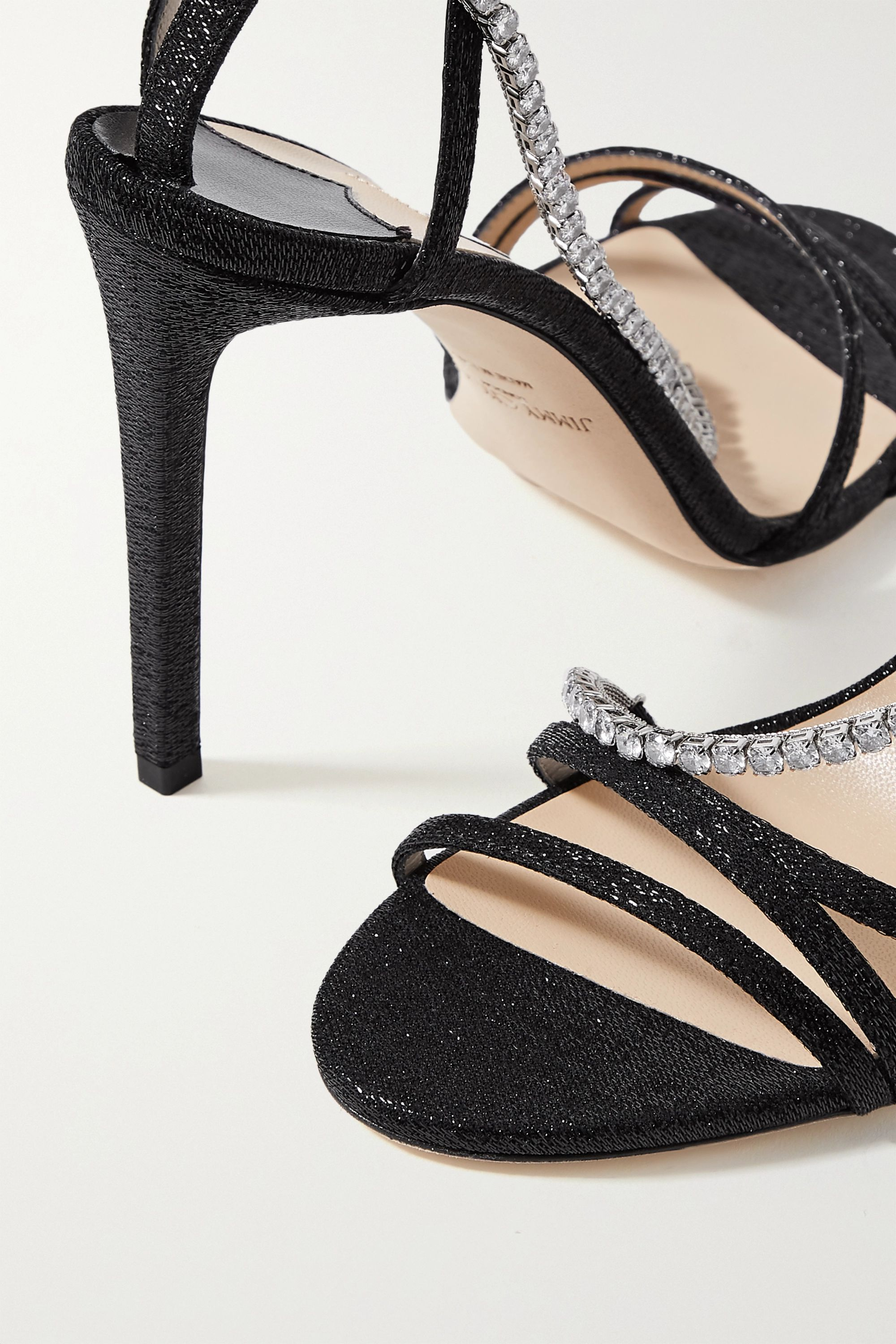 Jimmy Choo Thaia 100 crystal-embellished Lurex sandals