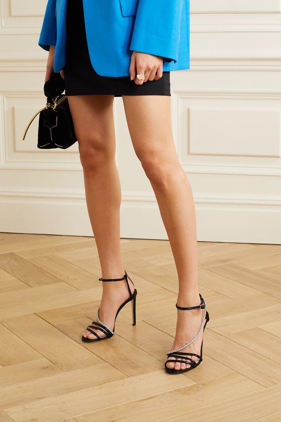 Jimmy Choo Thaia 100 crystal-embellished Lurex sandals