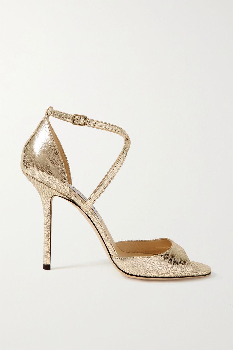 Jimmy Choo Emsy 100 metallic lizard-effect leather sandals