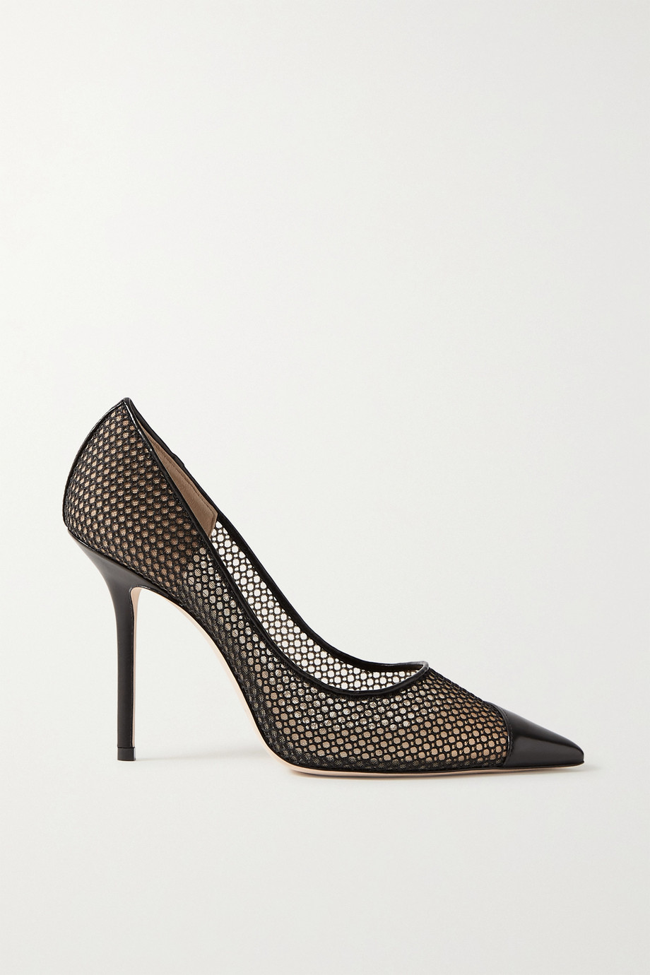Jimmy Choo Love 100 leather-trimmed fishnet pumps