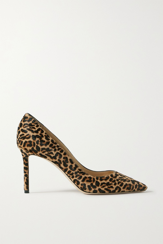 Romy 85 leopard-print calf hair pumps