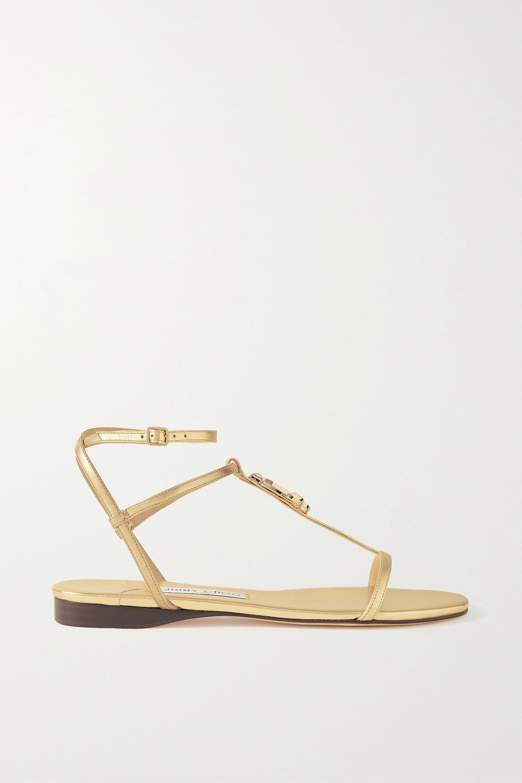 Jimmy Choo Alodie logo-embellished metallic leather sandals