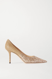 Love 85 glittered leather pumps