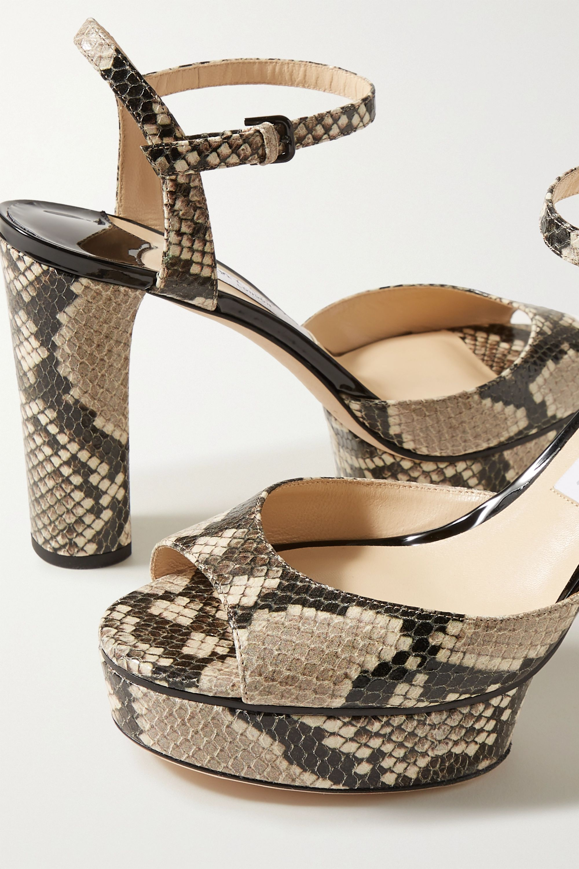 Jimmy Choo Peachy 105 snake-effect leather platform sandals