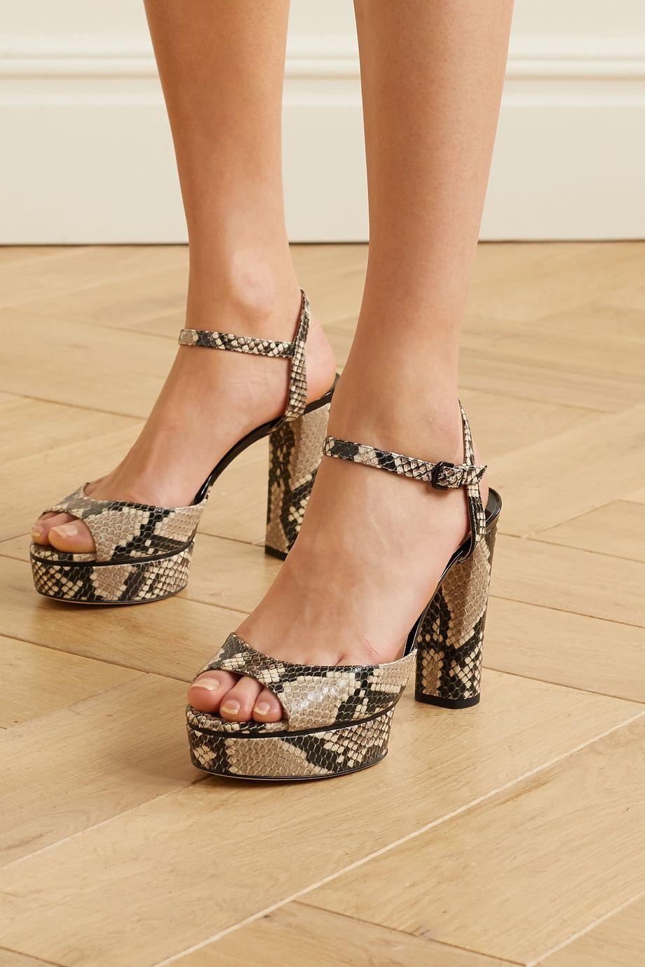 Jimmy Choo Peachy 105 snake-effect leather platform sandals