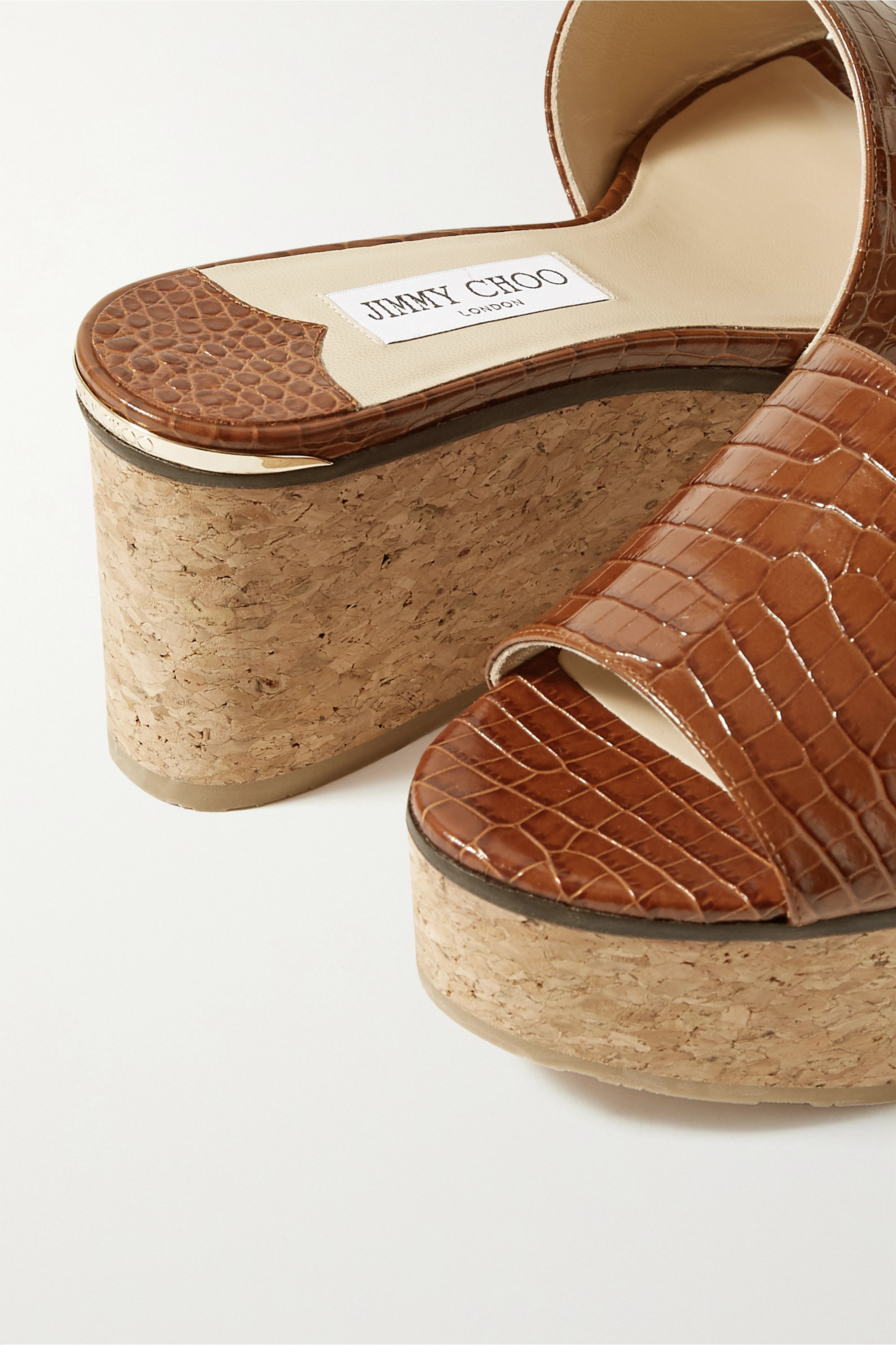 Jimmy Choo Deedee 80 croc-effect leather wedge mules