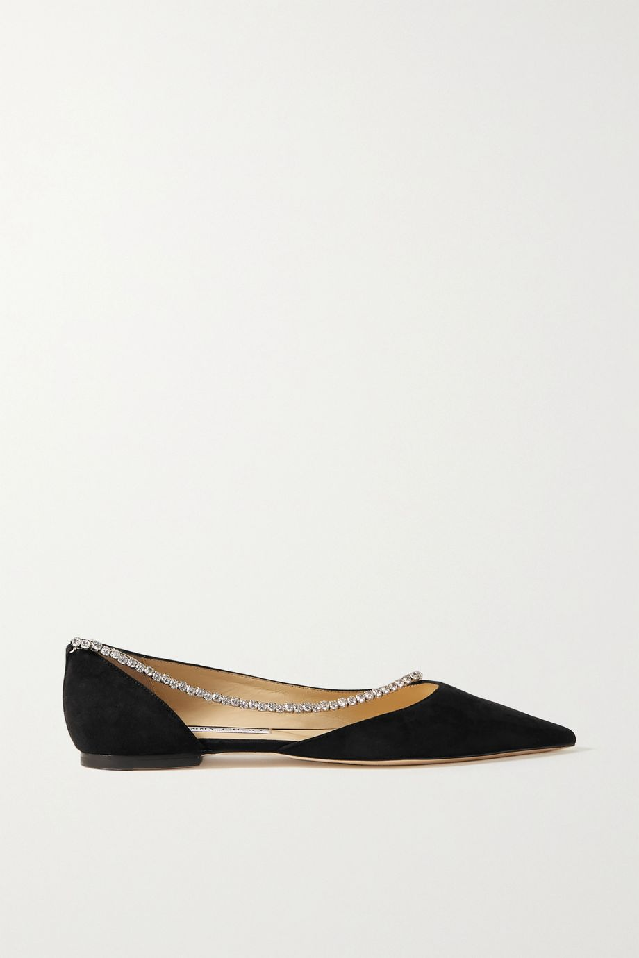 Jimmy Choo Trude crystal-embellished suede point-toe flats