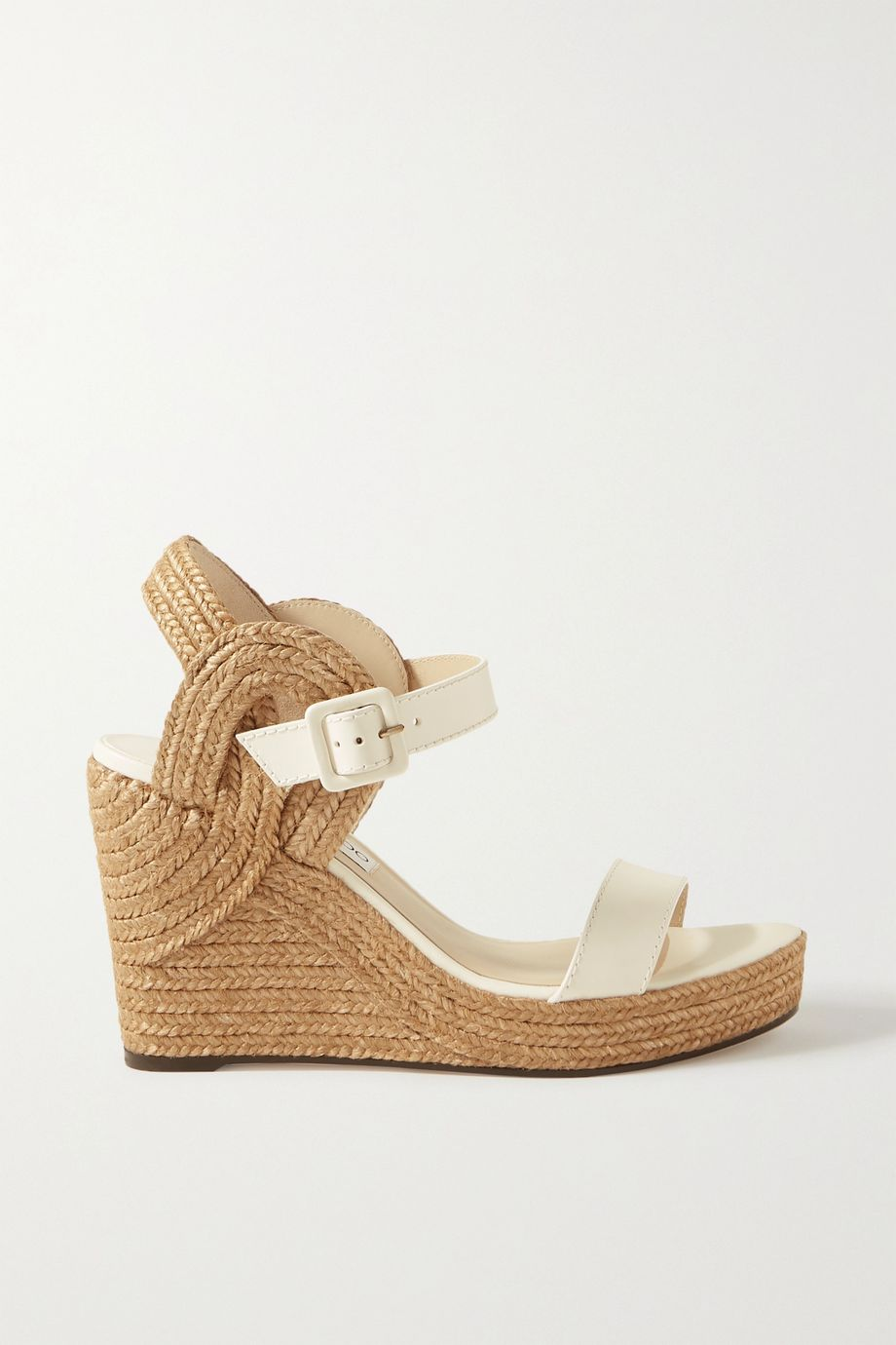 Jimmy Choo Delphi 100 leather espadrille wedge sandals
