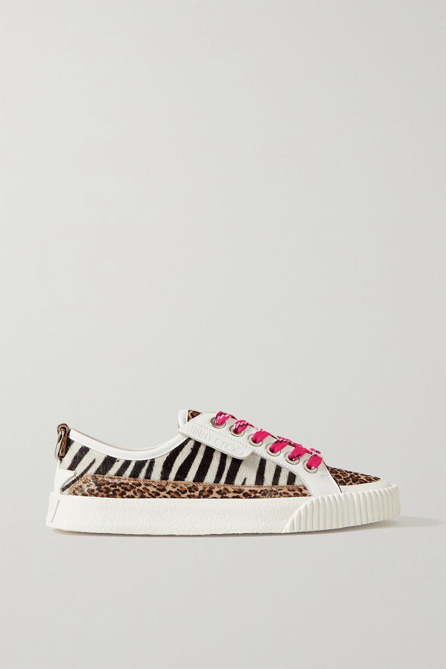 Jimmy Choo Impala leather and animal-print calf hair sneakers