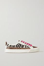 Jimmy Choo Impala leather and animal-print calf hair sneakers