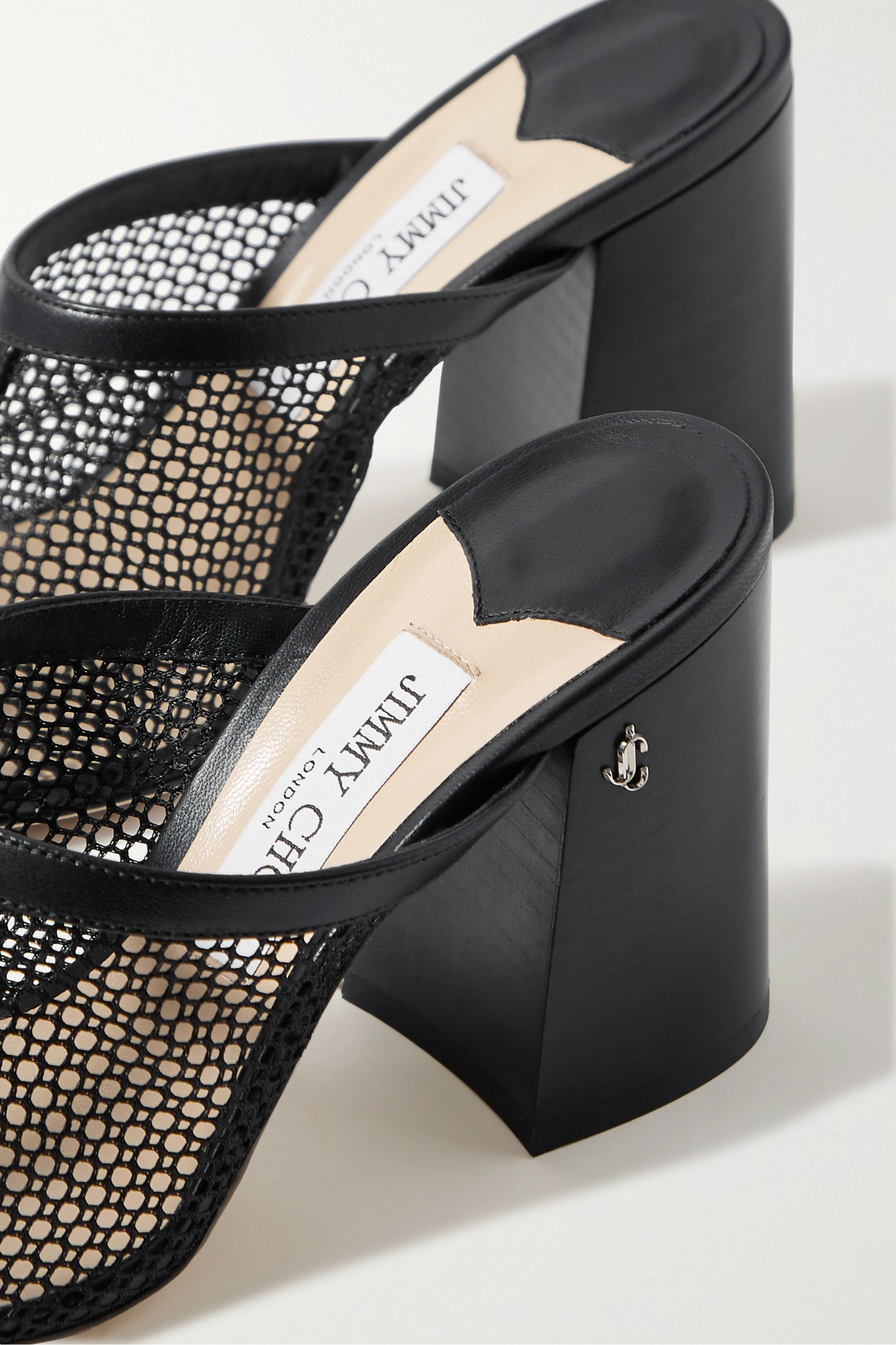 Jimmy Choo Joud 85 mesh and leather mules