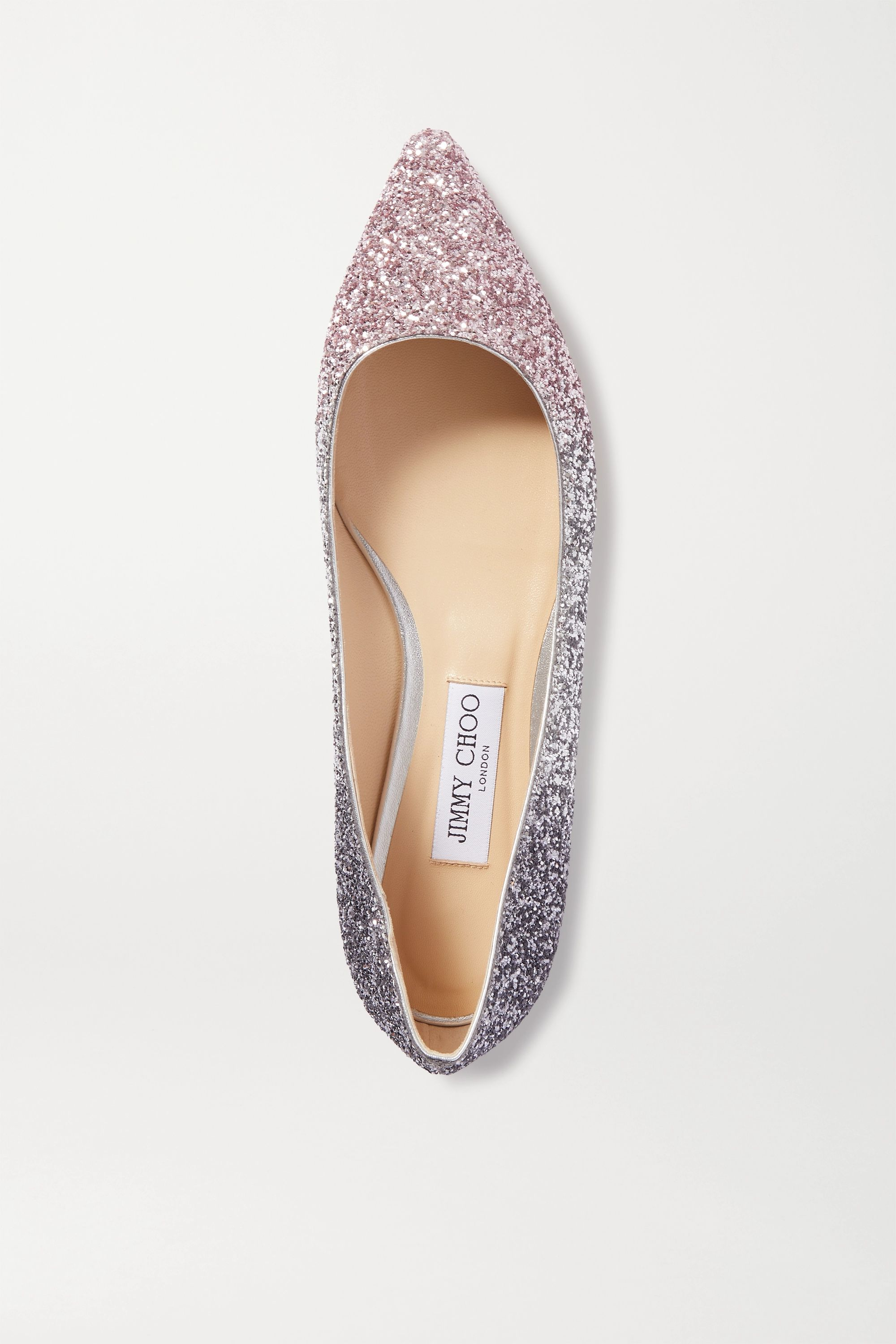 Silver Romy ombré glittered leather