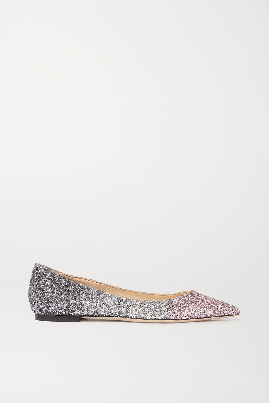 Jimmy Choo Romy ombré glittered leather point-toe flats