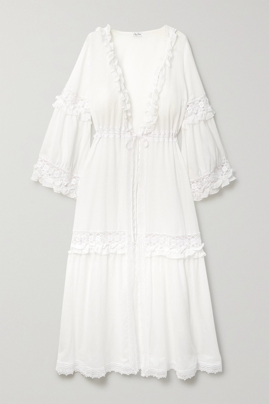 Charo Ruiz Tamara ruffled crochet-trimmed cotton-blend voile robe