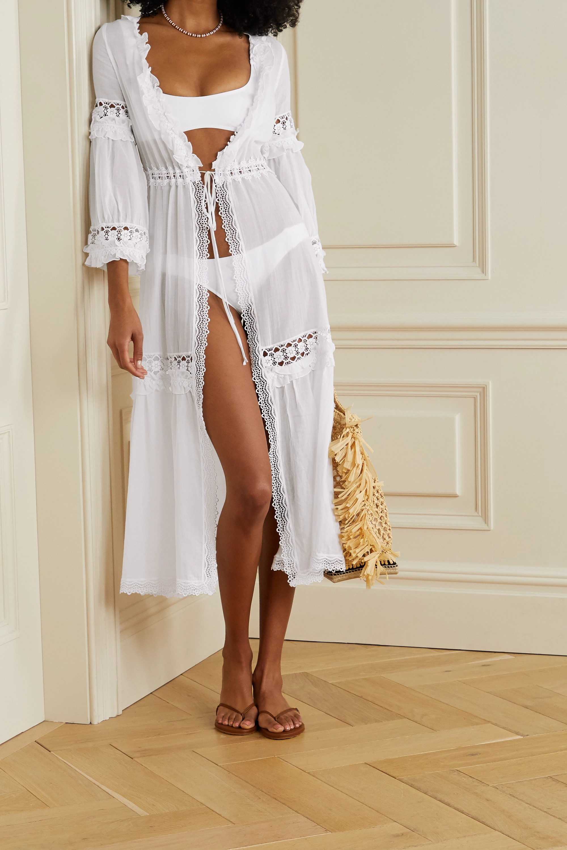 White Tamara Ruffled Crochet Trimmed Cotton Blend Voile Robe Charo Ruiz Net A Porter