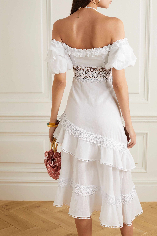 Charo Ruiz Carmen asymmetric off-the-shoulder crochet-trimmed cotton-blend midi dress