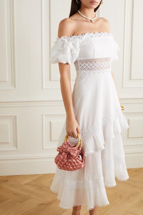 Carmen asymmetric off-the-shoulder crochet-trimmed cotton-blend midi dress