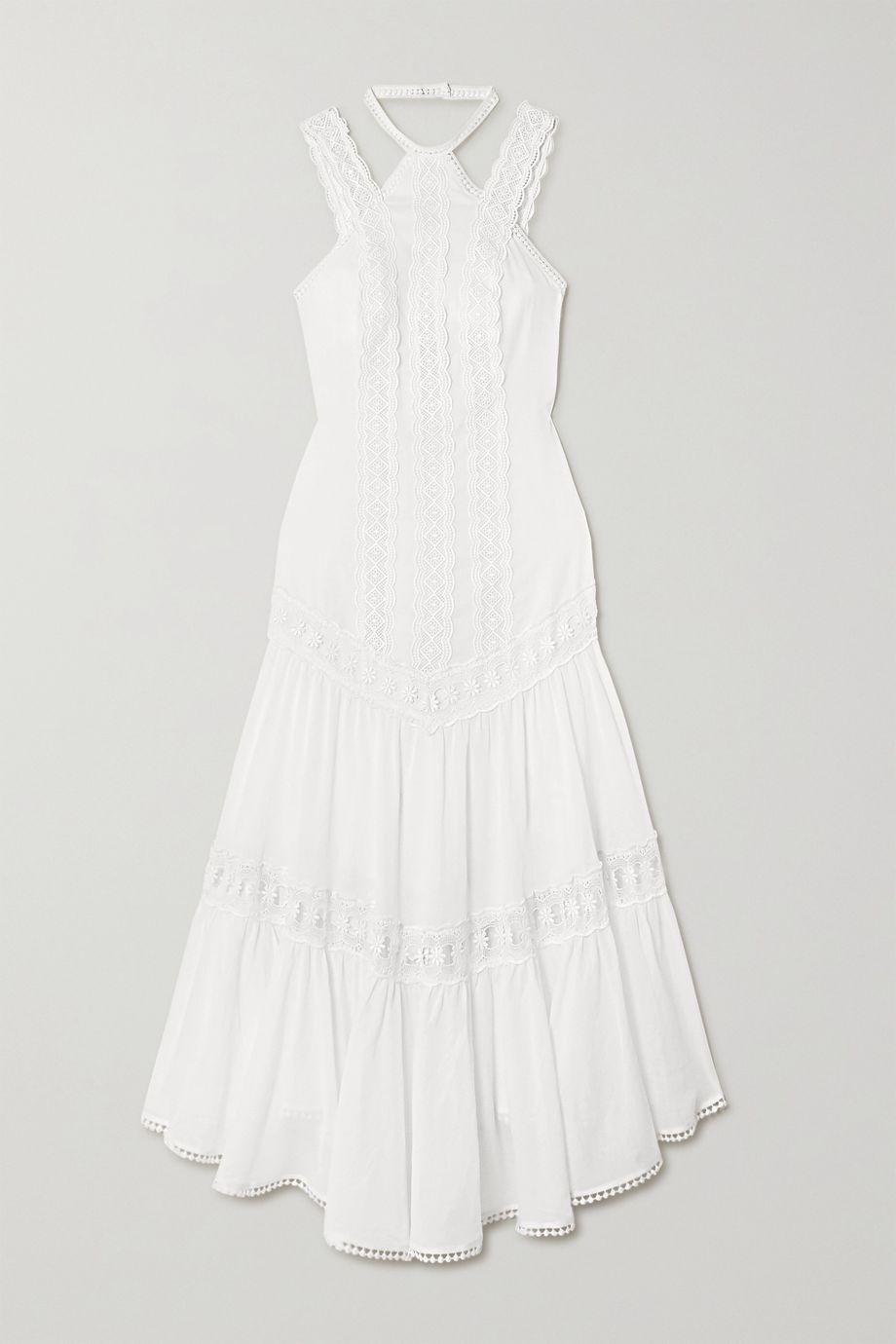 Charo Ruiz Analia crocheted lace-trimmed cotton-blend voile midi dress