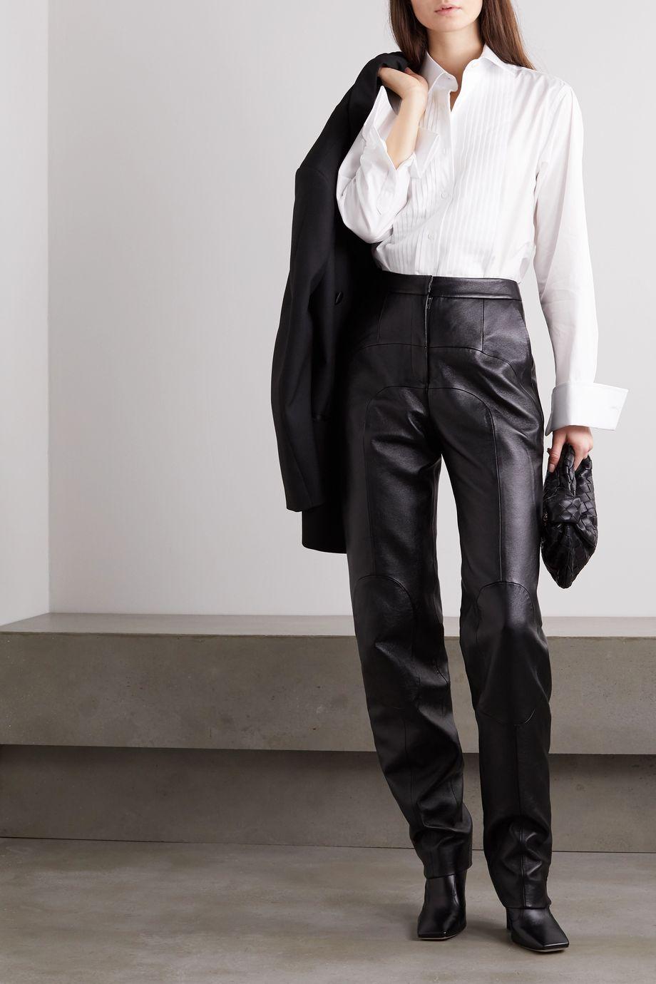 Emma Willis + NET SUSTAIN Jermyn Street pleated cotton-poplin shirt