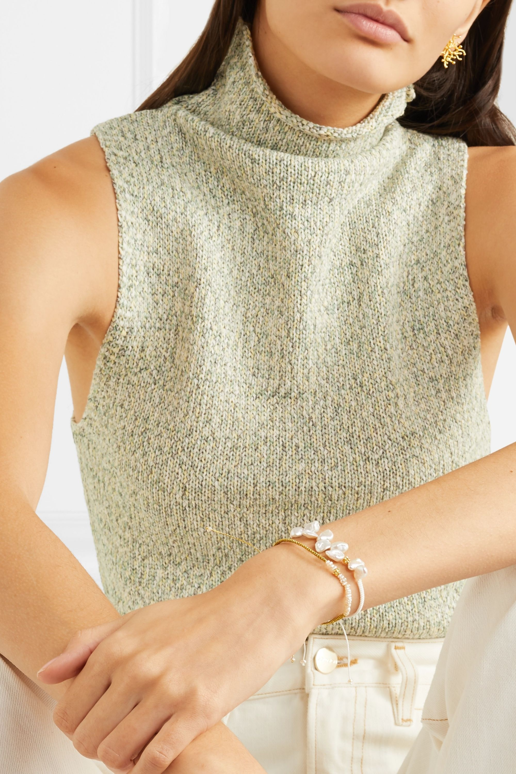 Pacharee + Pach Tach pearl, rope and gold-plated bracelet
