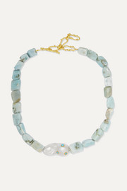 Pacharee + Pach Tach larimar, pearl and gold-plated necklace