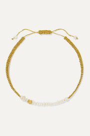 Pacharee + Pach Tach pearl, Lurex and gold-plated bracelet