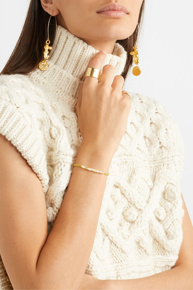 + Pach Tach Pearl, Lurex And Gold Plated Bracelet by Pacharee