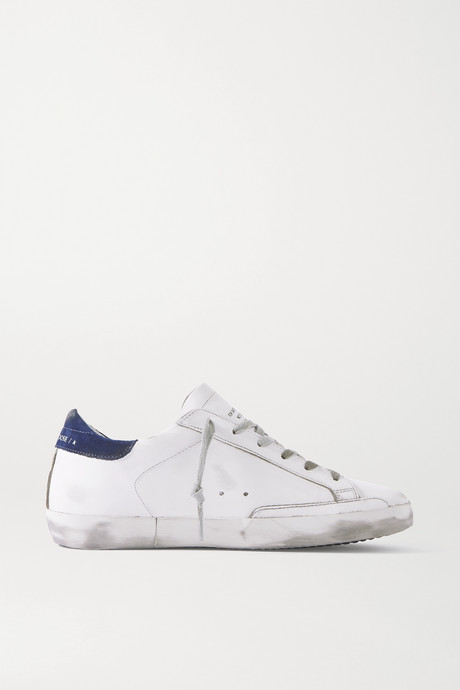 White Superstar distressed leather and suede sneakers | Golden Goose yQxA2s
