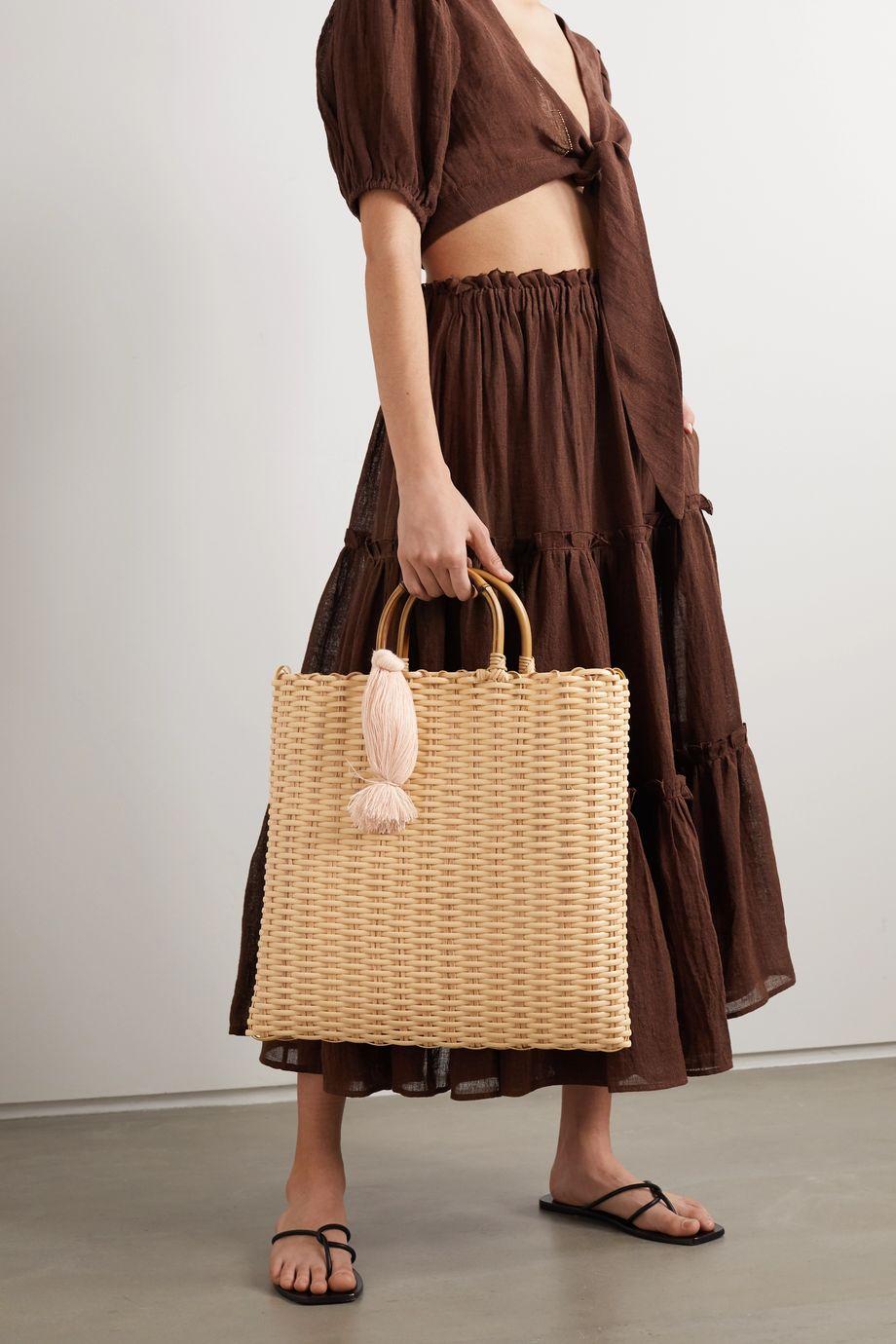 Nannacay + NET SUSTAIN Carolyn tasseled woven tote