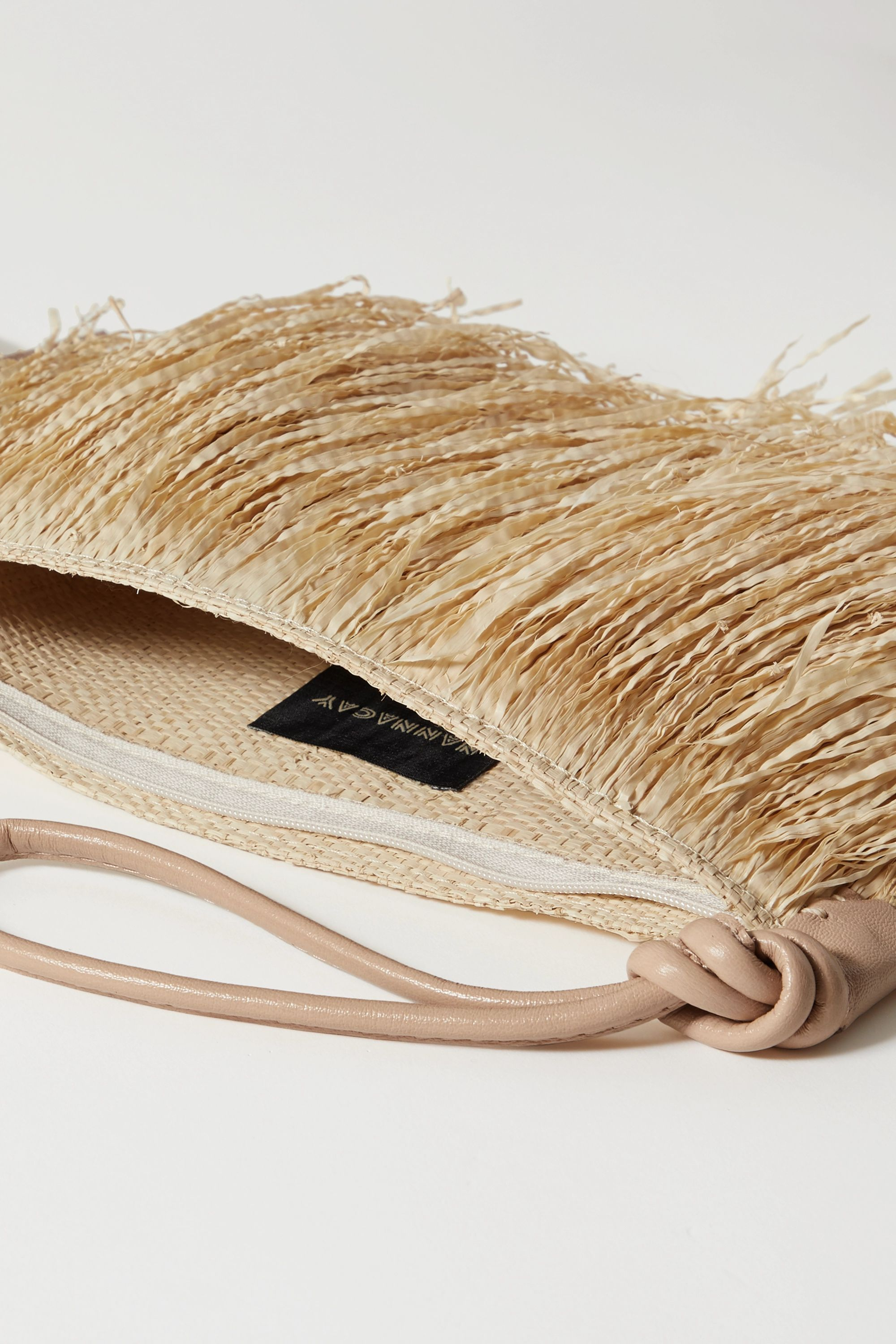 Nannacay + NET SUSTAIN Ana Isabel leather-trimmed straw clutch